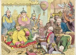 Lord Macartney beim chinesischen Kaiser, im Vordergrund deutlich zu sehen eine Tischuhr, die er als Geschenkt mitbrachte